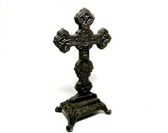 Vintage Cross Crucifix, Black Wrought Iron, Heavy Black Metal, Standing Tabletop Religious Cross, Decorative  Religious Gift