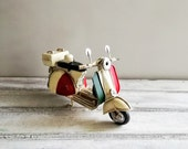 White Vespa scooter, vintage, collectible, retro miniature, tin and rubber, Vespa bike with Italian, red white green colours, early nineties