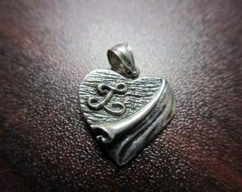 Sterling Silver Heart Pendant With Initial L