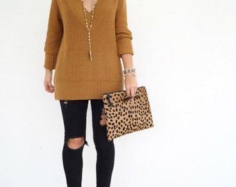 Medium cheetah print hair on hide Leather Clutch