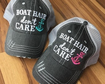 Hat { BOAT hair don't care } FREE piece of jewelry with every order. Teal or pink anchor.