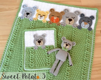 Sleep Tight Teddy Bear Set - Baby Blanket, Lovey & Stuffed Animal