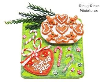 Gingerbread heart Lebkuchenherz board  - Miniature 1:12 Scale Food