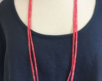 Coral Pink Necklace in Liberty Lawn.
