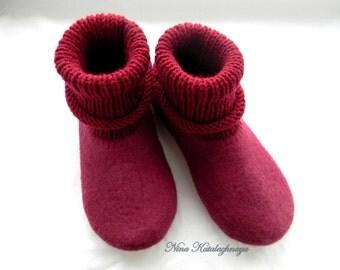 Felt slippers Women house shoes Women slippers felt Felted wool slippers Mother gift Burgundy slipers Made to order Wool slippers
