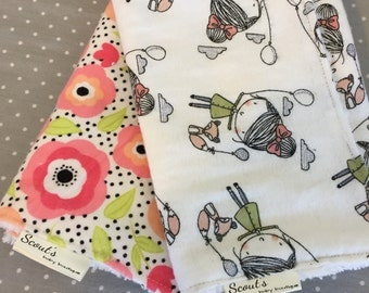 Baby Burp Cloths - Burp Rags - Baby Shower Gift -  Set of Two - Poppy Princess