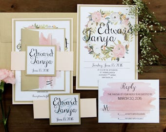 Blush, Gold, White, Pink Wedding Invitation Belly Band, Blush and Gold Invitation,  Gold Wedding Invitation, Blush Floral Watercolor Invite