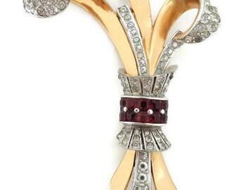 MB BOUCHER Phrygian Cap Rhodium & Gold Plated 1940's Rhinestone Brooch