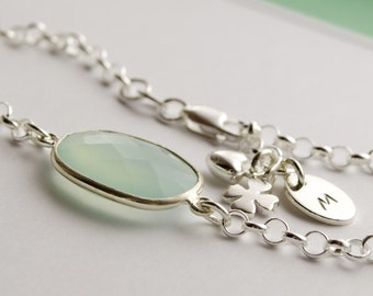 NAME BRACELET bracelet with engraved CHALCEDONY