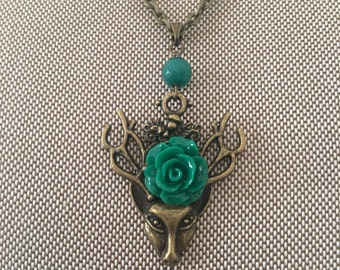 Bronze Deer Charm with Green Resin Rose Necklace