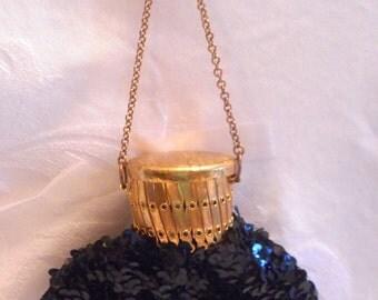 Miser's Purse, Vintage Round Gate Top Coin Purse, Evening Bag/ Black Sequined Wristlet/ Reticule
