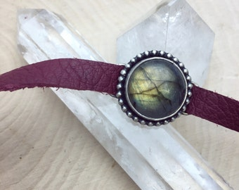 Labradorite Silver Maroon Leather Choker *made to order*