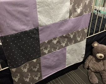 Baby blanket , deer heads, lavender, x on dark grey and white stripes, grey minky. Handmade baby quilt