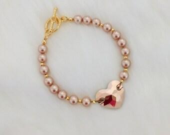 Rose Gold Heart Crystal Bracelet