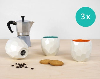 Modern ceramic espresso cup - handmade in polygons espresso - Poligon facetted espresso cup in bright quality tableware - Bright Orange