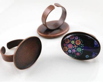 18*25mm High Quality Antique Copper Plated Copper Oval Ring Setting Base Cabochon Cameo Settings New Fashion