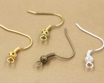 4 color Ear Hooks -100pcs Antique Bronze Brass Earwire Ball and Coil Earring Hook Findings 14*19mm