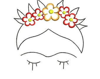 Frida Kahlo Instant Download Machine Embroidery Designs - Applique Embroidery Design 52