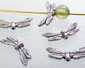 5 Silver dragonflies 20 x 7mm beads, spacers, intermediate bead