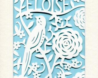 Personalized Nursery Art, Bird Papercut, Child's Room Decor, Chinoiserie, Art Deco, Designer Kid's Wall Art