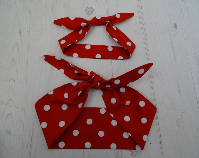 Matching Mum & Baby Rockabilly Head Scarf - Red Polka Dot - Cotton Bib Baby Shower Bandana Bib Boy Girl Gift Mom Mother Unisex 1950s Pin Up