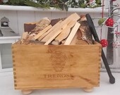 Kindling box - Italian wine box Trerose - fireside - logs - kindling box - wine lover gift - rustic vintage crates - hygge - housewarming