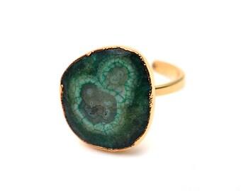 Solar Druzy Ring, Gold Electroplated Gemstone Druzy Adjustable Ring 1pc (DZGR-12938)