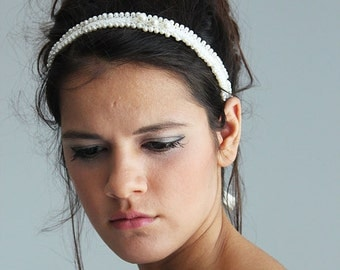 Wedding Hair Accessory, Pearl Wedding Headband, Bridal  Pearl Headpiece, Bridal Lace Headband, Bridal Hair Accessory