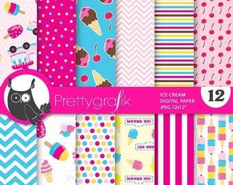 80% OFF SALE Ice cream digital papers, commercial use, scrapbook papers, background  - PS726
