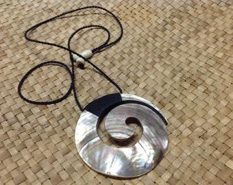 Traditional Maori Design Inspired Carved Black Lip Mother Of Pearl Shell Spiral With Adjustable Necklace ..Koru