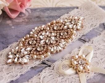 Wedding Garter set, Rose Gold Bridal Garter set, Ivory Lace Garter set, Rhinestone Garter, Ivory Garter, Rose Gold Crystal Garter