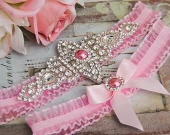 Pink Organza Garter Set, Wedding Garter Set, Bridal garter Set, Rhinestone Garter, Pink Garter set, Pink Wedding Garter