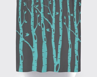 birch tree shower curtain with birds pool charcoal grey or any colors standard