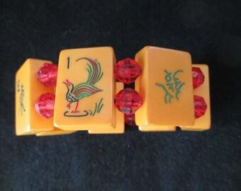 Vintage Mahjong - Majong Bakelite Bracelet - Red faceted  beads - estate find!