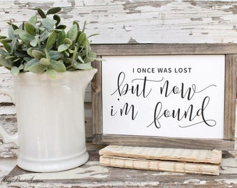 I Once Was Lost But Now I'm Found  Farmhouse Sign Wood Framed Hymnal Art Print Farmhouse Decor Scripture Fixer Upper Decor Salvaged