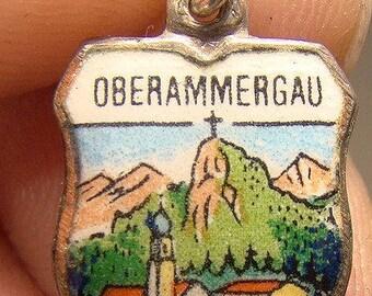 Oberammegau Germany Enamel Crest 800 Silver Charm 1930