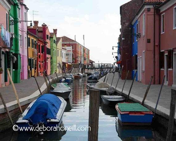 "Venice Photography - Burano Island bright colorful houses canal Venice Italy boats ""Burano Waterway, Venice, Italy"""