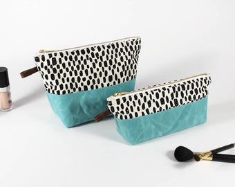 Cosmetic Bag Set, Makeup Bag, Zipper Bag, Waxed Canvas Bag, Waxed Canvas Pouch, Toiletry Bag Set, Makeup Brush Holder, Waxed Canvas