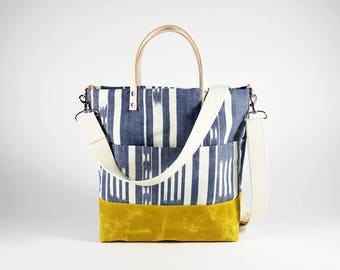 SALE Crossbody Handbag, Waxed Canvas Crossbody, Waxed Canvas Purse, Waxed Canvas Bag, Yellow Waxed Canvas, Blue Crossbody, Waxed Handbag