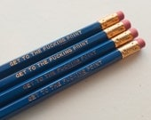 4-Pack Get to the Fucking Point Funny Foil Stamped Blue Pencils Gag Gift Gold Hexagon Shaped Copper Ferrule & Soft Pink Eraser Unsharpened