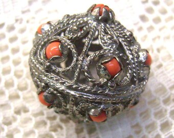Summer Sale...Vintage Sterling Silver Etruscan Orb Charm/Pendant...Coral Beads...Etruscan Style Charm...Segmented Sections