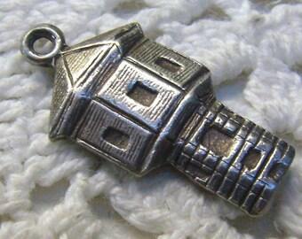 "Vintage Sterling Watch Tower Charm....British Charm....Signed ""+W+""....Bracelet...Souvenir Charm"