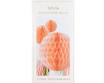 Trend Collection Coral Honeycomb Balls | My Mind's Eye Paper Goods | Coral Party | Baby Shower  | First Birthday | Pastel Party