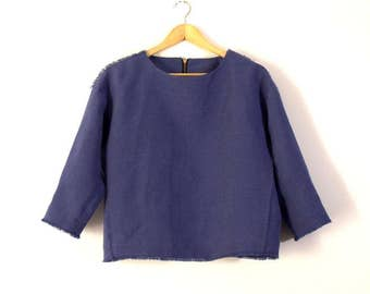 Linen Top For Women, Blue Jean French Pure Washed Linen, Linen Blouse, Fringed Top,Three Quarter Sleeve, Back Zip
