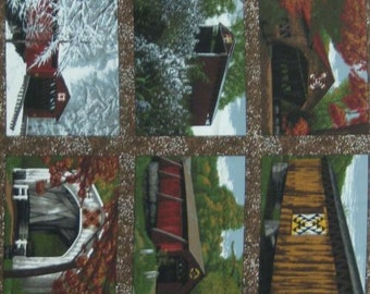 Quilt Barns & Bridges Panel - 1800-1