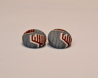 Grey Ankara Button Earrings
