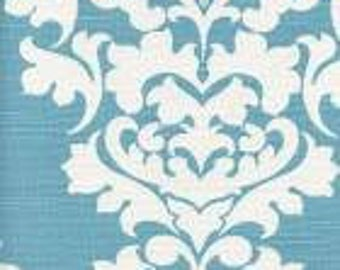 Handmade table runner 13W x 36L in Blue Coastal Damask Print, Home Decor