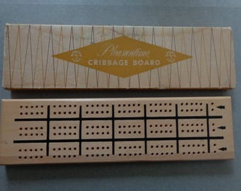 Pleasantime wood Cribbage Board in Box with pegs # 706 comes in original Box Track for 3 Players