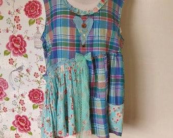 Raggedy Dress in Blues... Plus size dress/tunic