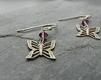 Butterfly Earrings/Silver Butterfly Earrings/Butterfly Jewellery/Butterflies/Dangle/Filigree/Purple Bead/Purple/Charm/Sterling Silver Plated